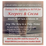 Today is the Last Day to RSVP for Keepers & Cocoa