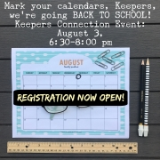 "Keepers Connection ""Back to School"" Event: Registration NOW OPEN!"