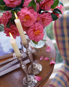 Lit Candles and Camellias on Small Table